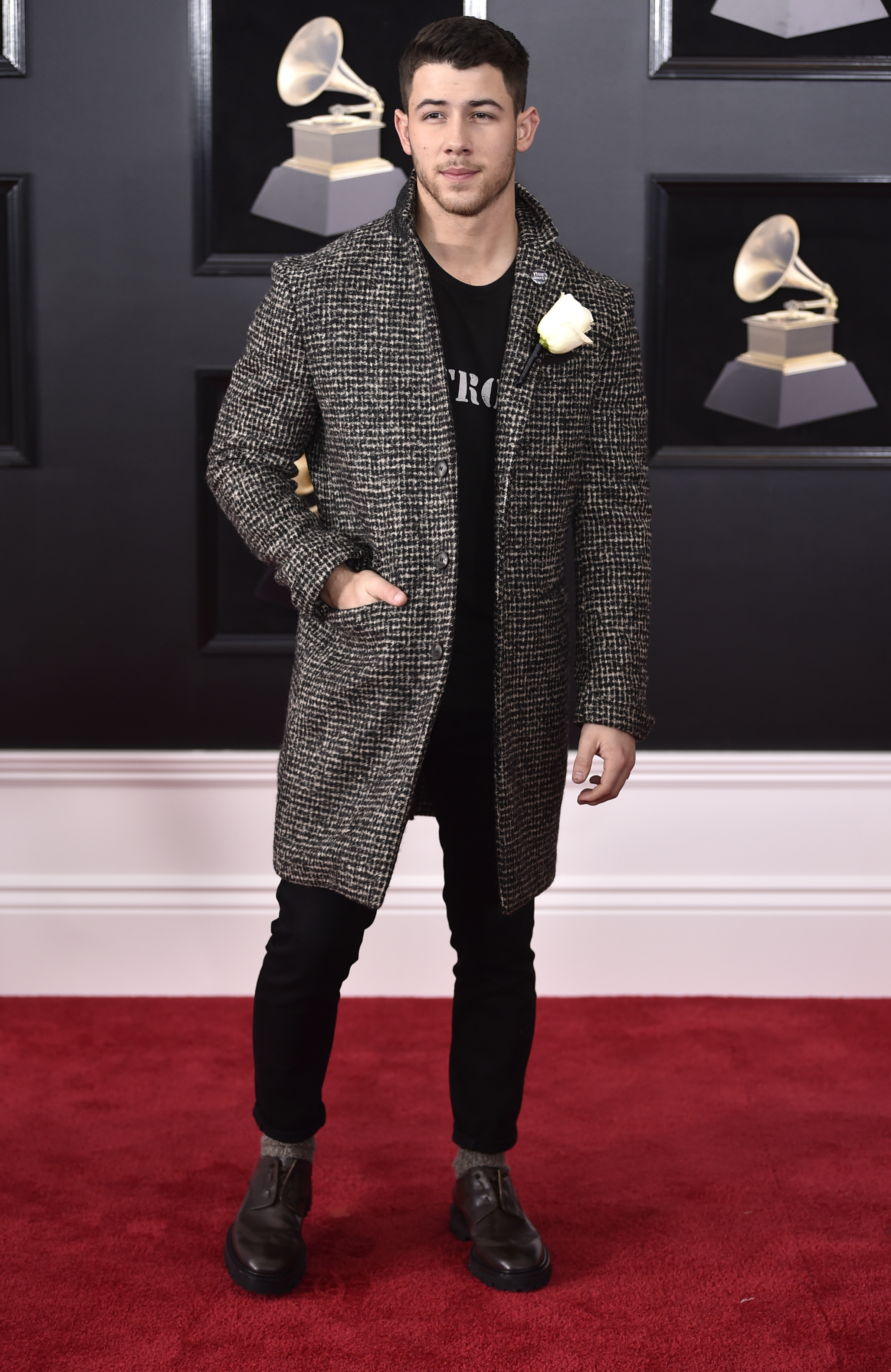<div class='meta'><div class='origin-logo' data-origin='AP'></div><span class='caption-text' data-credit='Evan Agostini/Invision/AP'>Nick Jonas arrives at the 60th annual Grammy Awards at Madison Square Garden on Sunday, Jan. 28, 2018, in New York.</span></div>