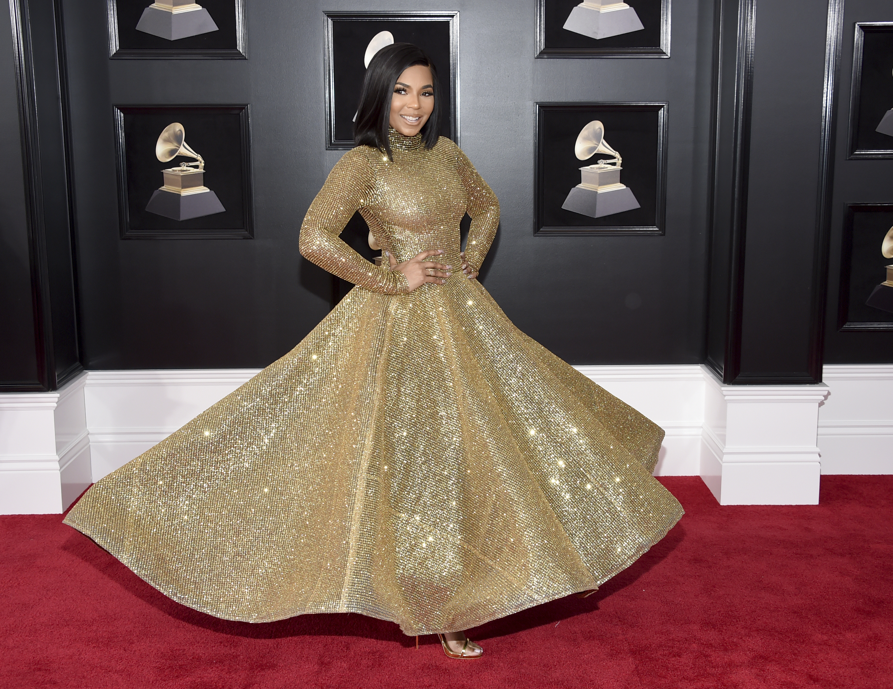 <div class='meta'><div class='origin-logo' data-origin='AP'></div><span class='caption-text' data-credit='Evan Agostini/Invision/AP'>Ashanti arrives at the 60th annual Grammy Awards at Madison Square Garden on Sunday, Jan. 28, 2018, in New York.</span></div>