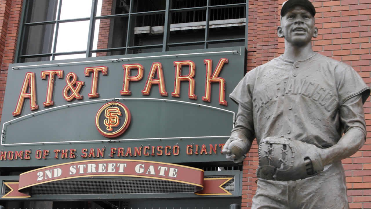 A statue of former San Francisco Giants baseball player Orlando Cepeda is shown in front of an entrance to AT & T Park in San Francisco, July 21, 2009. (AP Photo/Jeff Chiu)