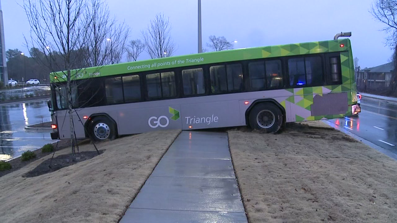 GoTriangle bus skids off road, stops in median