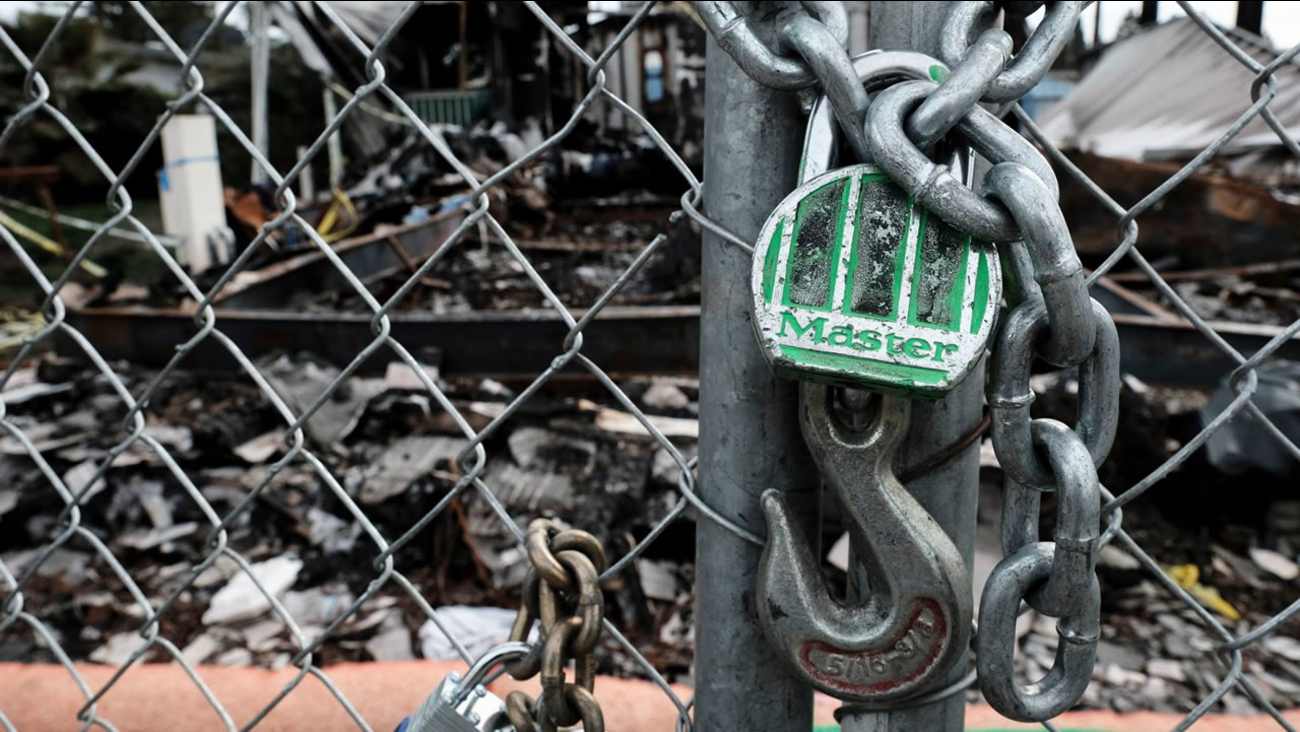 A chain locking up a Santa Rosa neighborhood affected by the North Bay fires on Monday, Jan. 29, 2018.
