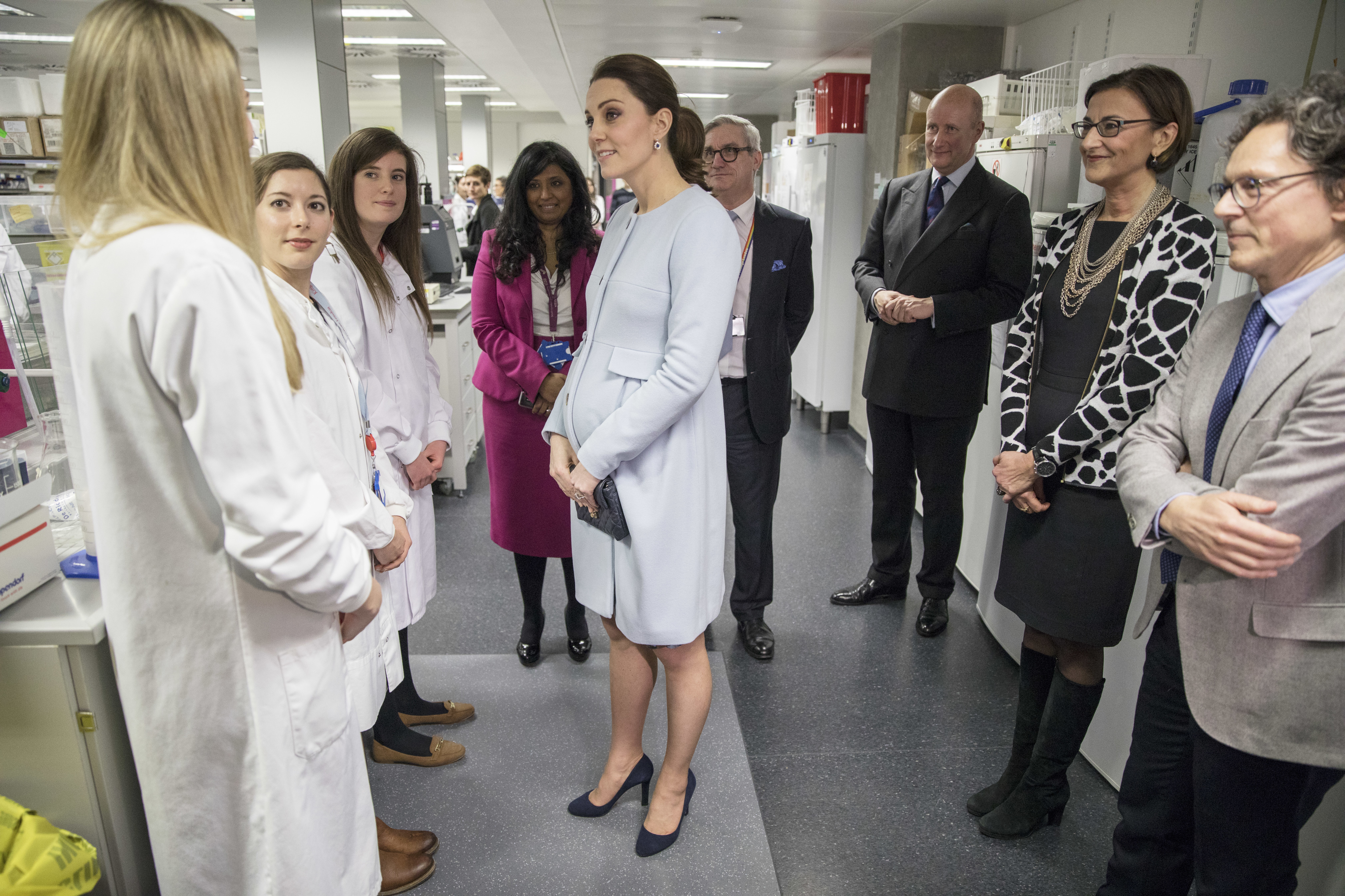 "<div class=""meta image-caption""><div class=""origin-logo origin-image none""><span>none</span></div><span class=""caption-text"">Kate meets with graduates during her visit to The Maurice Wohl Clinical Neuroscience Institute, at King's College in London, Wednesday Jan. 24, 2018. (Jack Hill/Pool via AP)</span></div>"