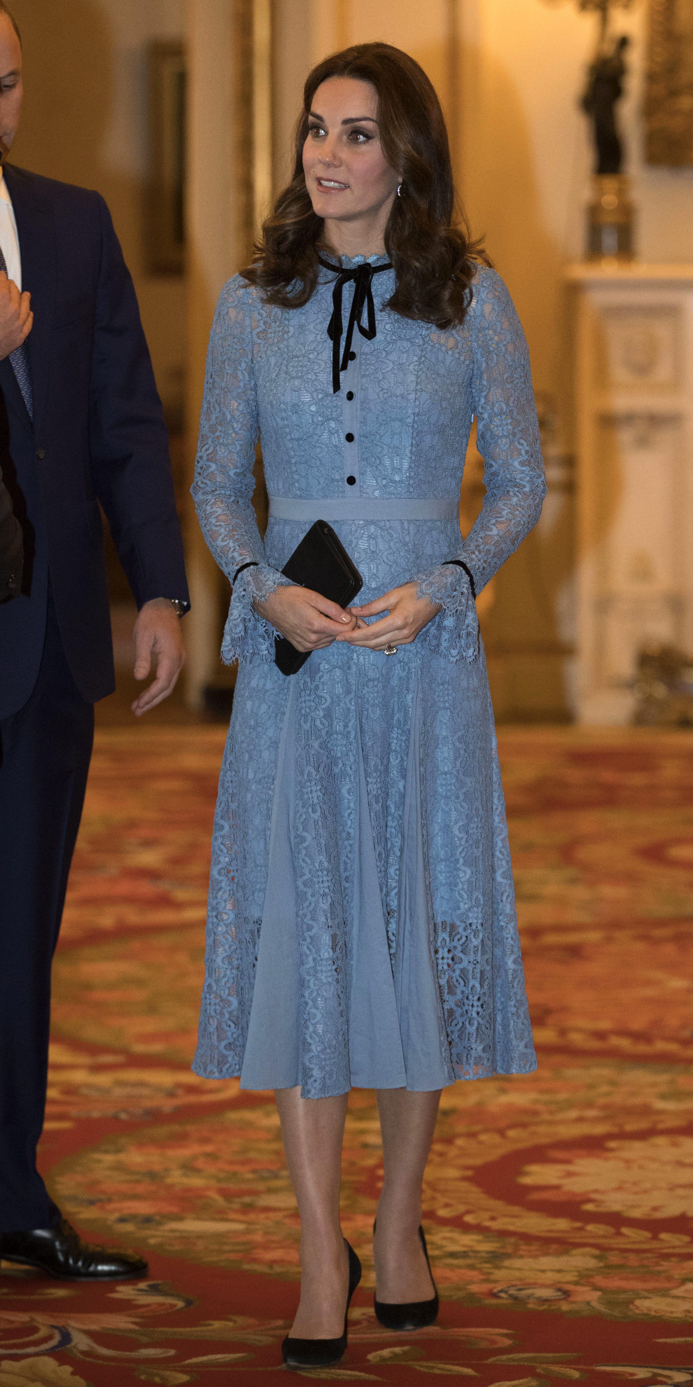"<div class=""meta image-caption""><div class=""origin-logo origin-image none""><span>none</span></div><span class=""caption-text"">Kate attends a reception at Buckingham Palace, London, to celebrate World Mental Health Day, Tuesday Oct. 10, 2017. (Heathcliff O'Malley/pool via AP)</span></div>"