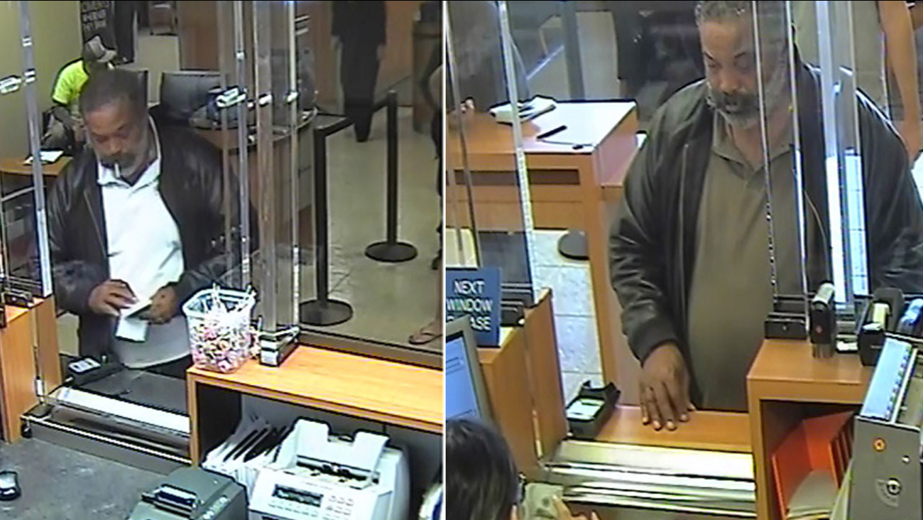 Images from separate surveillance videos at two Chase banks in Los Angeles County show a man Ventura County sheriff's investigators are searching for as an identity theft suspect.
