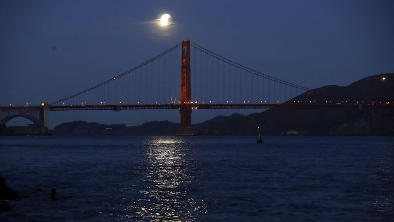 <div class='meta'><div class='origin-logo' data-origin='none'></div><span class='caption-text' data-credit='AP Photo/Marcio Jose Sanchez'>A super blue blood moon is reflected on the bay as it sets over the Golden Gate Bridge Wednesday, Jan. 31, 2018, in San Francisco.</span></div>
