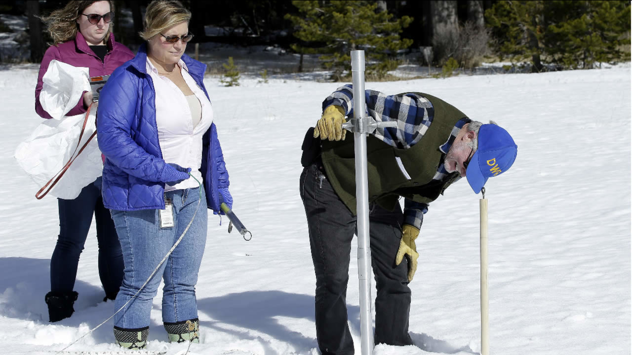 Chief of the California Cooperative Snow Surveys Program, for the Department of Water Resources, checks the snowpack depth on Feb. 1, 2018, near Echo Summit, Calif.(AP Photo)