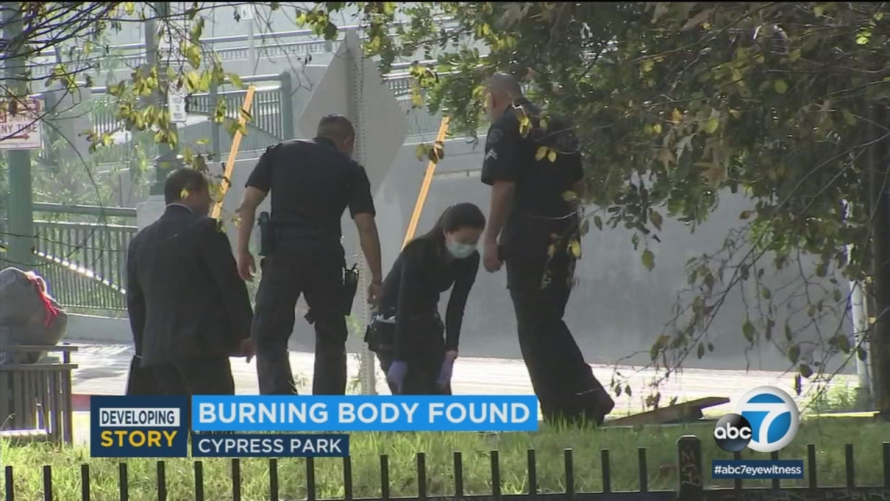 Police were investigating after a burned body was discovered in a Home Depot parking lot in the Cypress Park area of Los Angeles Thursday, Feb. 1, 2018.