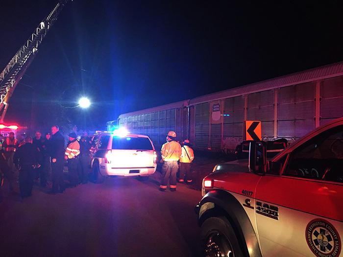 <div class='meta'><div class='origin-logo' data-origin='AP'></div><span class='caption-text' data-credit=''>Emergency responders work at the scene of a crash between an Amtrak passenger train and a CSX freight train.  (Lexington County Sheriff's Department via AP)</span></div>