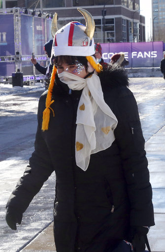 "<div class=""meta image-caption""><div class=""origin-logo origin-image none""><span>none</span></div><span class=""caption-text"">A woman wears a stocking cap over horns while braving sub-zero temperatures Sunday, Feb. 4, 2018, in Minneapolis. AP Photo/Jim Mone) (AP)</span></div>"