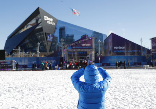 "<div class=""meta image-caption""><div class=""origin-logo origin-image none""><span>none</span></div><span class=""caption-text"">A fan takes a picture outside U.S. Bank Stadium before Super Bowl LII Sunday, Feb. 4, 2018, in Minneapolis. (AP Photo/Jeff Roberson) (AP)</span></div>"