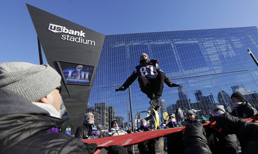 "<div class=""meta image-caption""><div class=""origin-logo origin-image none""><span>none</span></div><span class=""caption-text"">A fan jumps on a trampoline outside U.S. Bank Stadium before Super Bowl LII Sunday, Feb. 4, 2018, in Minneapolis. (AP Photo/Eric Gay) (AP)</span></div>"