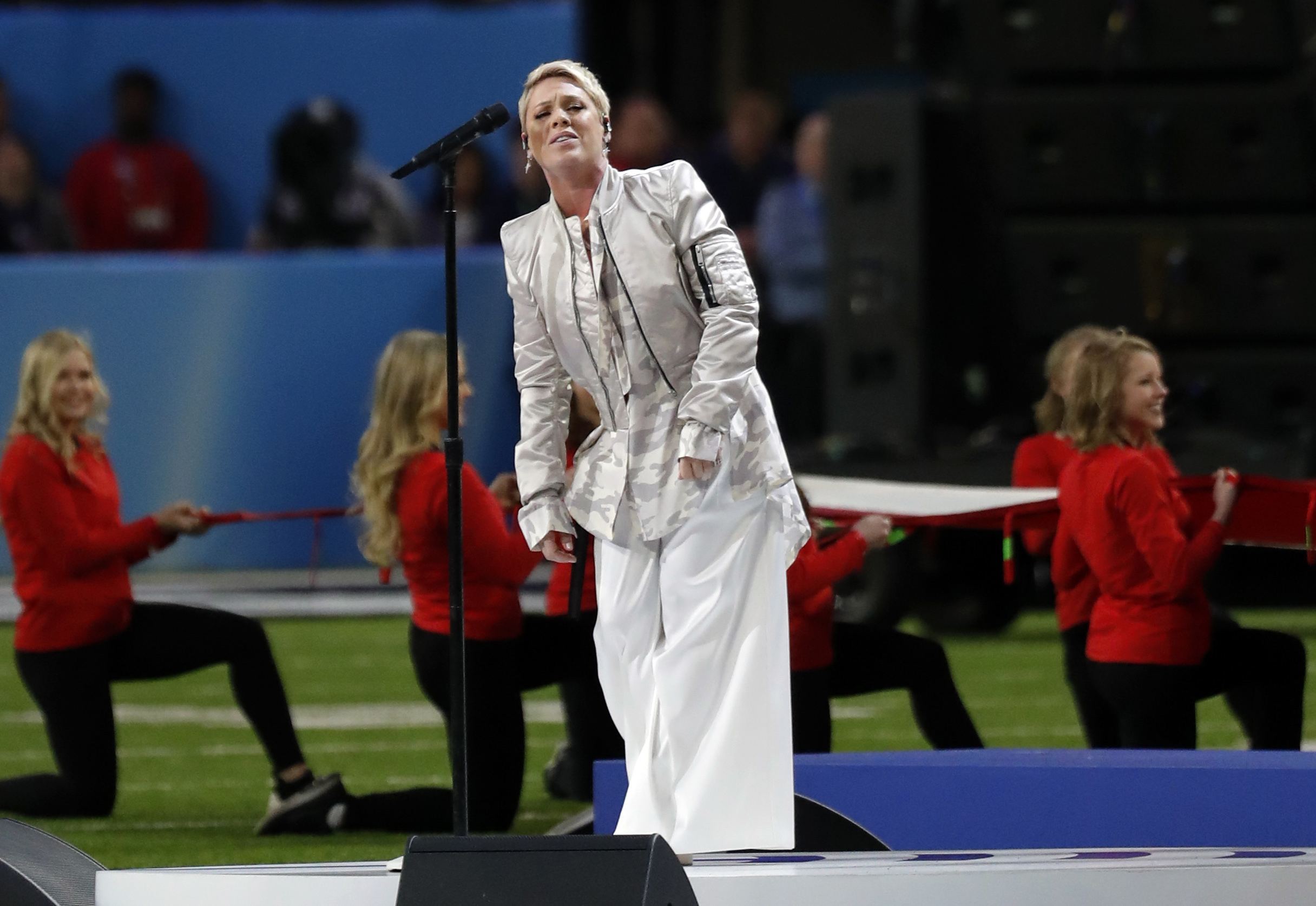 <div class='meta'><div class='origin-logo' data-origin='AP'></div><span class='caption-text' data-credit='AP Photo/Tony Gutierrez'>Pink performs the National Anthem, before the NFL Super Bowl 52 football game between the Philadelphia Eagles and the New England Patriots, Sunday, Feb. 4, 2018, in Minneapolis.</span></div>