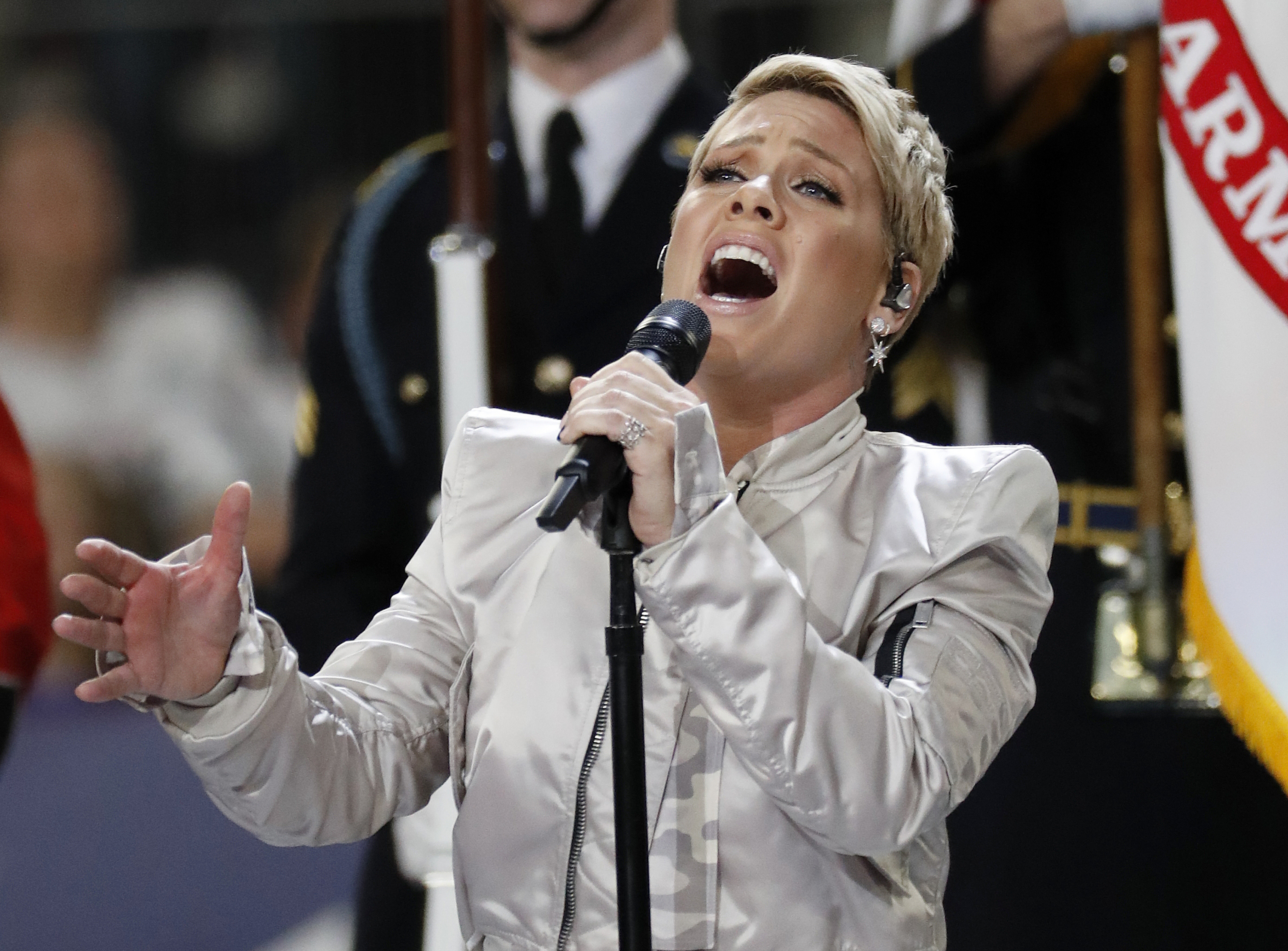 <div class='meta'><div class='origin-logo' data-origin='AP'></div><span class='caption-text' data-credit='AP Photo/Matt York'>Pink performs the national anthem before the NFL Super Bowl 52 football game between the Philadelphia Eagles and the New England Patriots Sunday, Feb. 4, 2018, in Minneapolis.</span></div>