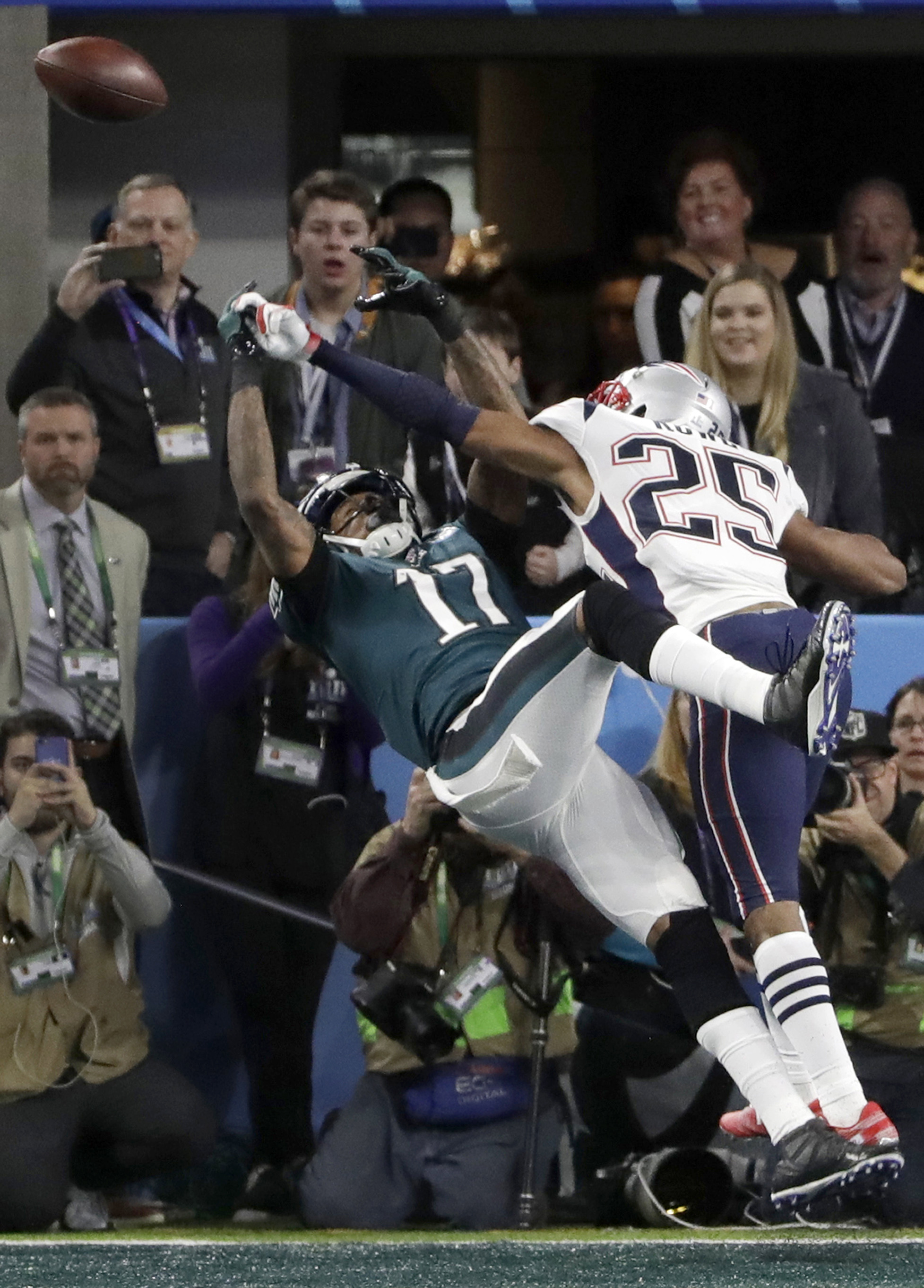 <div class='meta'><div class='origin-logo' data-origin='AP'></div><span class='caption-text' data-credit='AP Photo/Chris O'Meara'>New England Patriots cornerback Eric Rowe (25) breaks up a pass in the end zone intended for Philadelphia Eagles wide receiver Alshon Jeffery (17).</span></div>