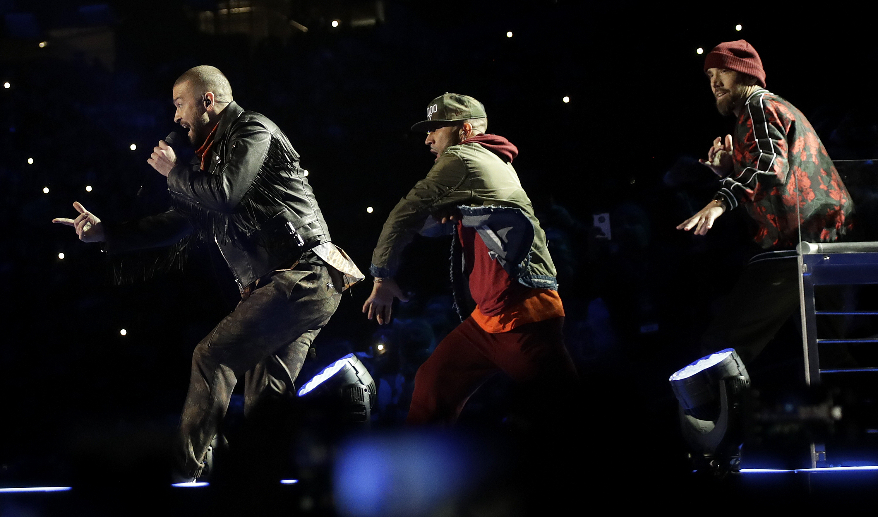 "<div class=""meta image-caption""><div class=""origin-logo origin-image ap""><span>AP</span></div><span class=""caption-text"">Justin Timberlake, left, performs during halftime of the NFL Super Bowl 52 football game between the Philadelphia Eagles and the New England Patriots Sunday, Feb. 4, 2018. (AP Photo/Eric Gay, Eric Slocum)</span></div>"