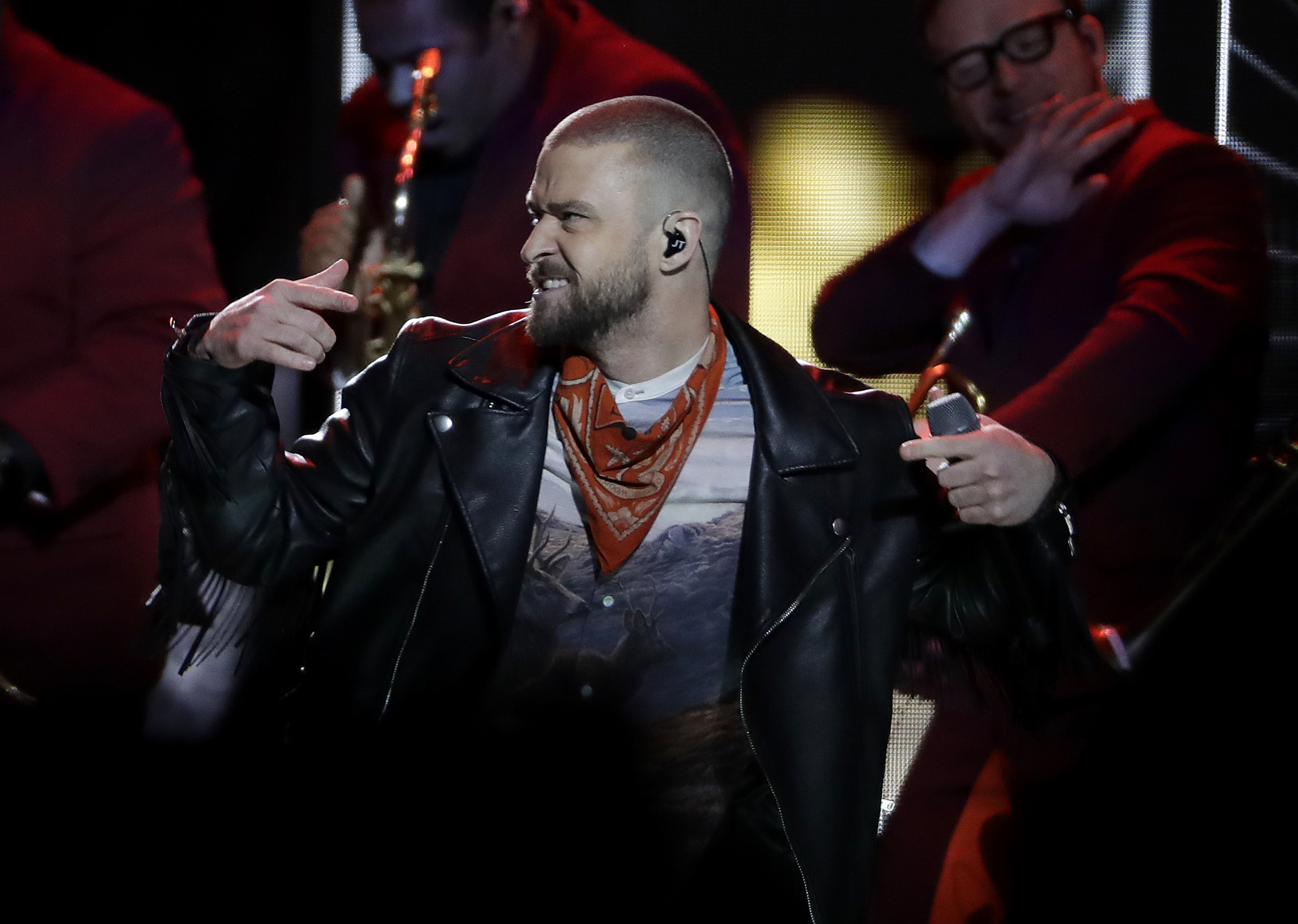 "<div class=""meta image-caption""><div class=""origin-logo origin-image ap""><span>AP</span></div><span class=""caption-text"">Justin Timberlake performs during halftime of the NFL Super Bowl 52 football game between the Philadelphia Eagles and the New England Patriots Sunday, Feb. 4, 2018, in Minneapolis. (AP Photo/Eric Gay, Eric Slocum)</span></div>"