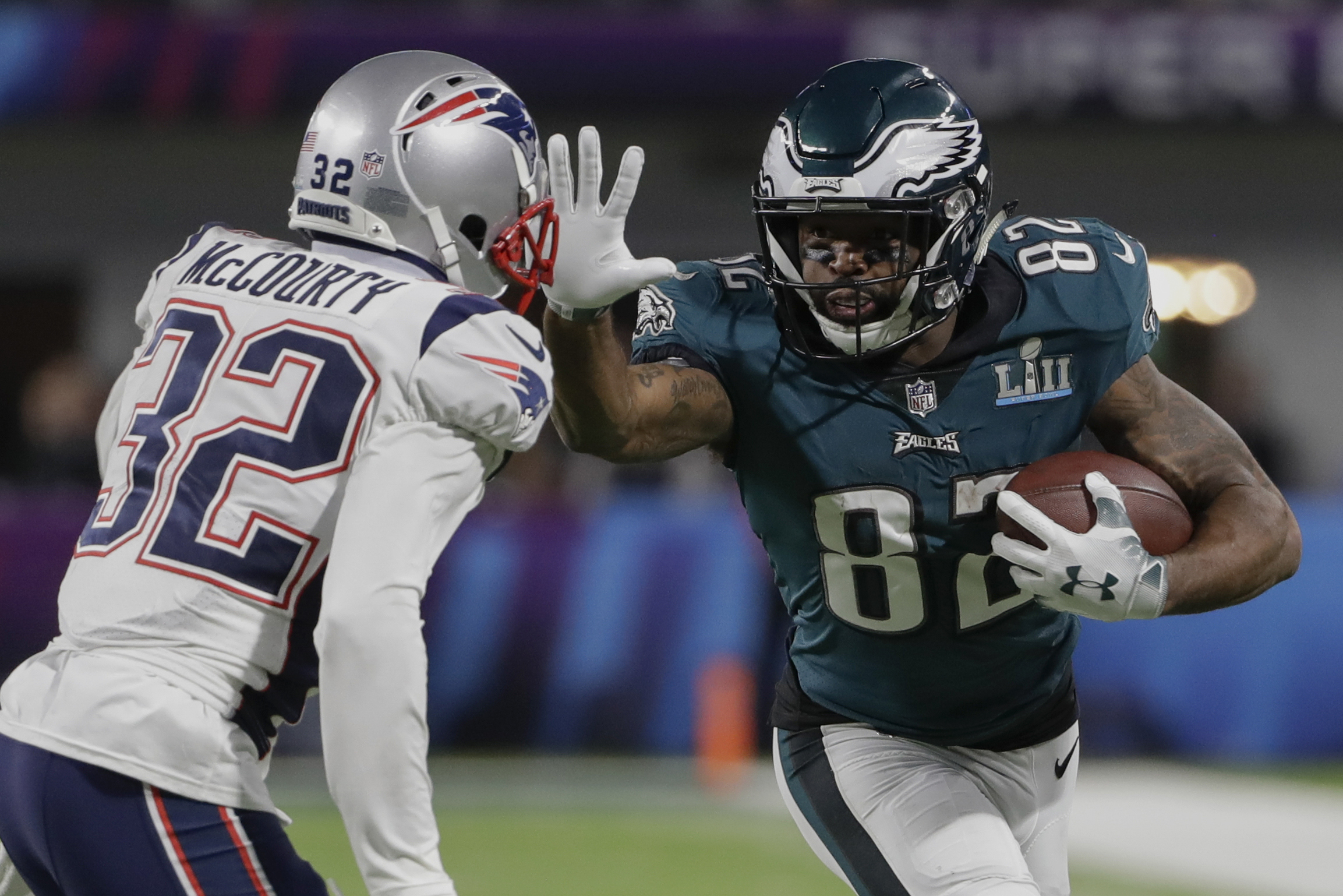 "<div class=""meta image-caption""><div class=""origin-logo origin-image ap""><span>AP</span></div><span class=""caption-text"">Philadelphia Eagles wide receiver Torrey Smith (82) runs against New England Patriots free safety Devin McCourty (32), during the second half. (AP Photo/Chris O'Meara)</span></div>"