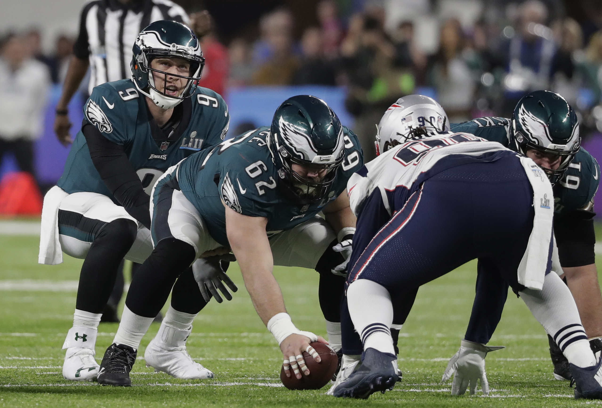<div class='meta'><div class='origin-logo' data-origin='AP'></div><span class='caption-text' data-credit='AP Photo/Tony Gutierrez'>Philadelphia Eagles quarterback Nick Foles (9) calls a play, during the second half of the NFL Super Bowl 52 football game.</span></div>