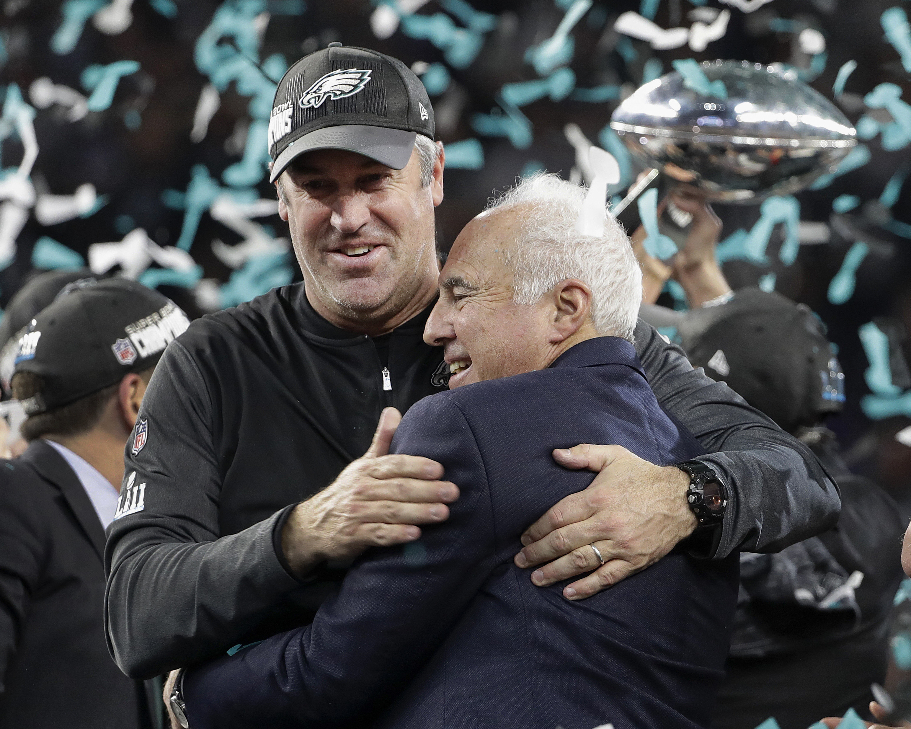 "<div class=""meta image-caption""><div class=""origin-logo origin-image ap""><span>AP</span></div><span class=""caption-text"">Philadelphia Eagles owner Jeffrey Lurie, right, and head coach Doug Pederson celebrate after the NFL Super Bowl 52 football game. (AP Photo/Chris O'Meara)</span></div>"