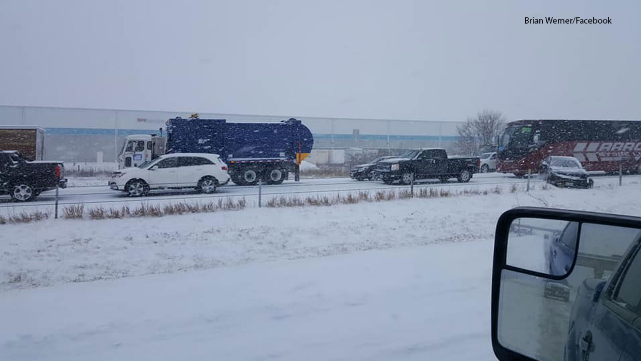 A witness captures a photo of a weather-related pile-up crash that involved a Dancing with the Stars tour bus on Monday, Feb. 5, 2018.