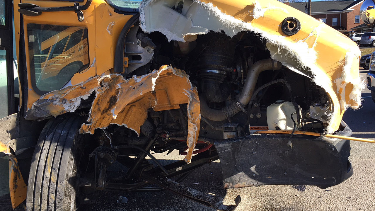 The school bus sustained extensive damage after a crash in Roxboro Monday afternoon.