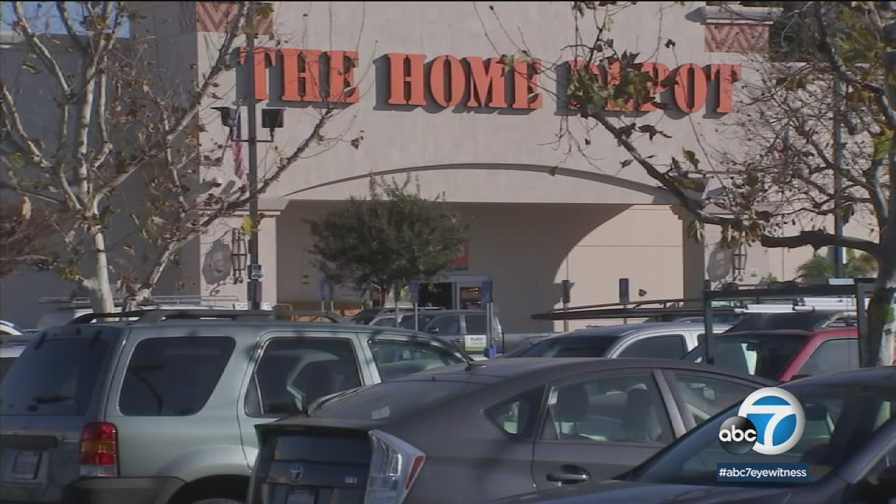 A Home Depot in Cypress Park, where a homeless man is suspected of leaving his wife's charred body parts, is shown.