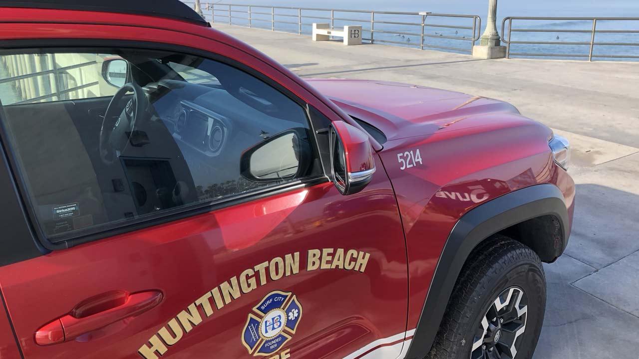 A Huntington Beach Fire Department vehicle is seen near the Huntington Beach Pier on Wednesday, Feb. 7, 2018.