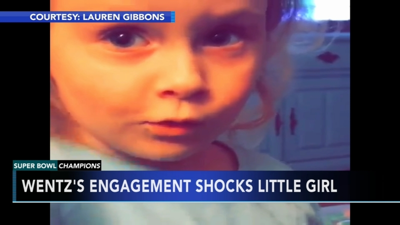 watch 56a8c cb6d2 Carson Wentz's engagement shocks little girl