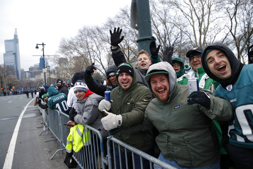 <div class='meta'><div class='origin-logo' data-origin='none'></div><span class='caption-text' data-credit='AP'>Fans line Benjamin Franklin Parkway before a Super Bowl victory parade for the Philadelphia Eagles football team, Thursday, Feb. 8, 2018, in Philadelphia. (AP Photo/Alex Brandon)</span></div>