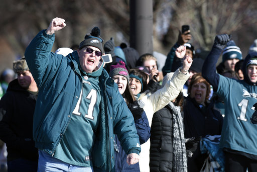 <div class='meta'><div class='origin-logo' data-origin='none'></div><span class='caption-text' data-credit=''>Philadelphia Eagles NFL football team fans celebrate during the Super Bowl LII victory parade, Thursday, Feb 8, 2018, in Philadelphia. (AP Photo/Michael Perez)</span></div>