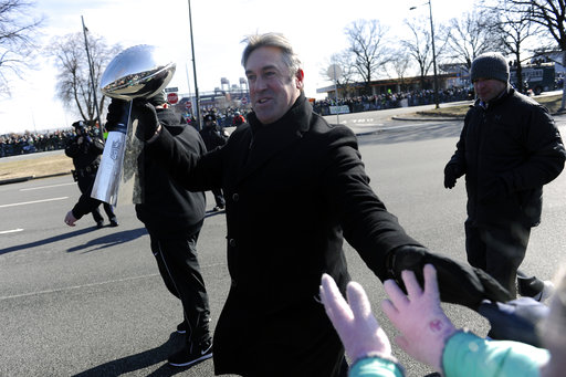 <div class='meta'><div class='origin-logo' data-origin='AP'></div><span class='caption-text' data-credit='AP'>Philadelphia Eagles NFL football head coach Doug Pederson walks with the Lombardi Trophy during the Super Bowl LII victory parade, Thursday, Feb 8, 2018. (AP Photo/Michael Perez)</span></div>