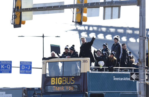 "<div class=""meta image-caption""><div class=""origin-logo origin-image ap""><span>AP</span></div><span class=""caption-text"">Philadelphia Eagles head coach Doug Pederson points to the crowd gathered during the Super Bowl LII victory parade.(AP Photo/Michael Perez) (AP)</span></div>"