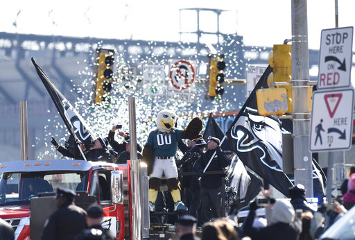 <div class='meta'><div class='origin-logo' data-origin='AP'></div><span class='caption-text' data-credit='AP'>Philadelphia Eagles NFL football team mascot Swoop waves during the Super Bowl LII victory parade, Thursday, Feb 8, 2018, in Philadelphia. (AP Photo/Michael Perez)</span></div>