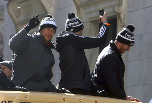 "<div class=""meta image-caption""><div class=""origin-logo origin-image ap""><span>AP</span></div><span class=""caption-text"">Philadelphia Eagles quarterbacks Nick Foles and Carson Wentz ride in the parade Thursday Feb. 8, 2018, in Philadelphia.  (AP Photo/Jacqueline Larma) (AP)</span></div>"