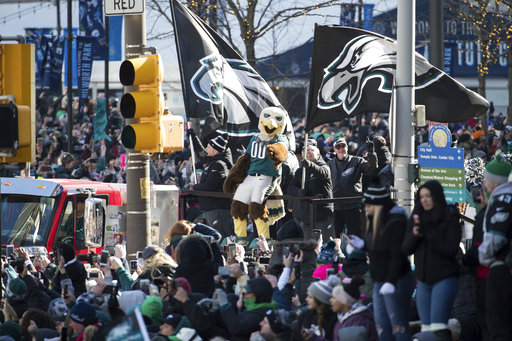 <div class='meta'><div class='origin-logo' data-origin='AP'></div><span class='caption-text' data-credit='AP'>Philadelphia Eagles mascot Swoop reacts to the crowd during a Super Bowl victory parade, Thursday, Feb. 8, 2018, in Philadelphia. (AP Photo/Christopher Szagola)</span></div>