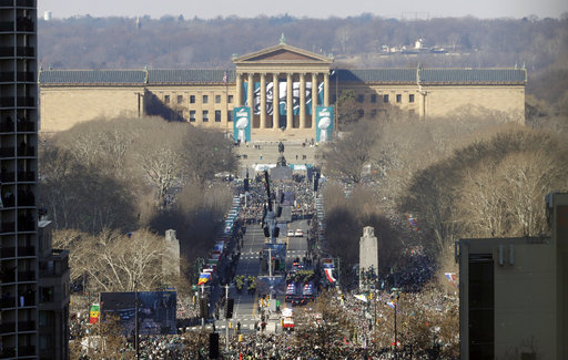 <div class='meta'><div class='origin-logo' data-origin='AP'></div><span class='caption-text' data-credit='AP'>Philadelphia Eagles drive down the Benjamin Franklin Parkway towards the Philadelphia Museum of Art during a Super Bowl victory parade, Feb. 8, 2018 (AP Photo/Matt Slocum)</span></div>