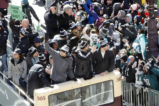 "<div class=""meta image-caption""><div class=""origin-logo origin-image ap""><span>AP</span></div><span class=""caption-text"">Philadelphia Eagles' Nick Foles, Nate Sudfeld and Carson Wentz celebrate during a Super Bowl victory parade, Thursday, Feb. 8, 2018, in Philadelphia. (AP Photo/Matt Slocum) (AP)</span></div>"