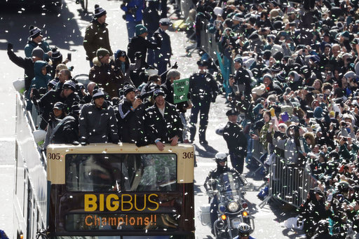 <div class='meta'><div class='origin-logo' data-origin='AP'></div><span class='caption-text' data-credit='AP'>Philadelphia Eagles quarterbacks Nick Foles, Nate Sudfeld and Carson Wentz celebrate during a Super Bowl victory parade, Feb. 8, 2018, in Philadelphia.<br> (AP Photo/Matt Slocum)</span></div>