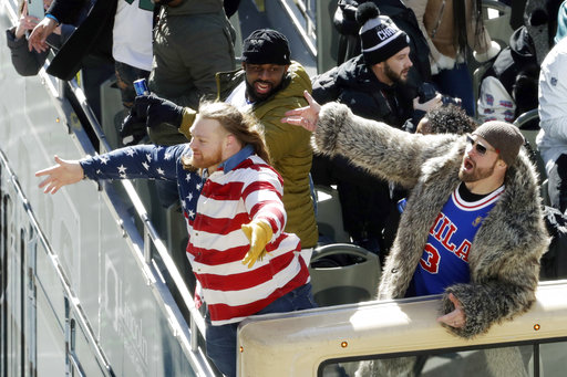 <div class='meta'><div class='origin-logo' data-origin='AP'></div><span class='caption-text' data-credit='AP'>Philadelphia Eagles' Chris Long, Fletcher Cox and Beau Allen celebrate during a Super Bowl victory parade, Thursday, Feb. 8, 2018, in Philadelphia.  (AP Photo/Matt Slocum)</span></div>
