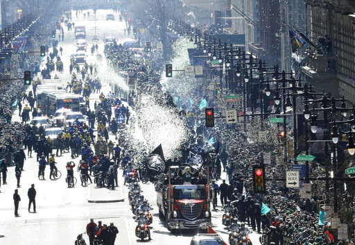 <div class='meta'><div class='origin-logo' data-origin='AP'></div><span class='caption-text' data-credit='AP'>The Philadelphia Eagles parade up Broad Street during a Super Bowl victory p (AP Photo/Matt Slocum)</span></div>