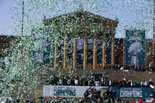"<div class=""meta image-caption""><div class=""origin-logo origin-image ap""><span>AP</span></div><span class=""caption-text"">Confetti flies to end a celebration in front of the the Philadelphia Museum of Art after a Super Bowl victory parade for the Philadelphia Eagles (AP Photo/Alex Brandon) (AP)</span></div>"
