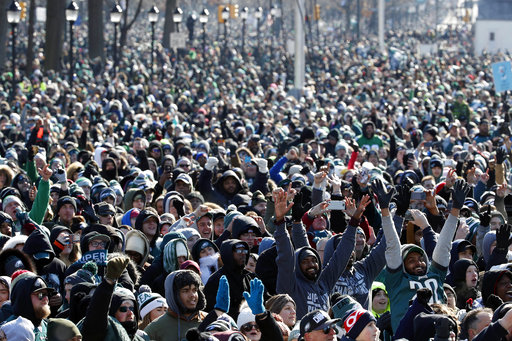 "<div class=""meta image-caption""><div class=""origin-logo origin-image ap""><span>AP</span></div><span class=""caption-text"">Fans cheer as they watch a replay of Super Bowl 52 in front of the the Philadelphia Museum of Art  (AP Photo/Alex Brandon) (AP)</span></div>"