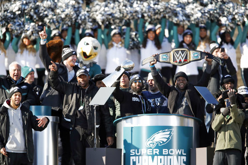 <div class='meta'><div class='origin-logo' data-origin='AP'></div><span class='caption-text' data-credit='AP'>Philadelphia Eagles strong safety Malcolm Jenkins holds the Lombardi trophy as running back Jay Ajayi holds a championship belt (AP Photo/Alex Brandon)</span></div>