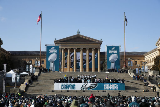 "<div class=""meta image-caption""><div class=""origin-logo origin-image ap""><span>AP</span></div><span class=""caption-text"">The Philadelphia Eagles ceremony takes place in front of the Philadelphia Museum of Art after a Super Bowl victory parade for theteam, Thursday, Feb. 8, 2018(AP Photo/Alex Brandon) (AP)</span></div>"