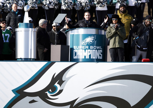 <div class='meta'><div class='origin-logo' data-origin='AP'></div><span class='caption-text' data-credit='AP'>Philadelphia Eagles general manager Howie Roseman speaks in front of the Philadelphia Museum of Art after a Super Bowl victory parade Thursday, Feb. 8, 2018 (AP Photo/Alex Brandon)</span></div>