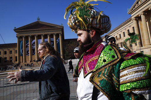 <div class='meta'><div class='origin-logo' data-origin='AP'></div><span class='caption-text' data-credit='AP'>Philadelphia Eagles center Jason Kelce arrives in front of the Philadelphia Museum of Art after a Super Bowl victory parade for the team, Feb. 8, 2018 (AP Photo/Alex Brandon)</span></div>
