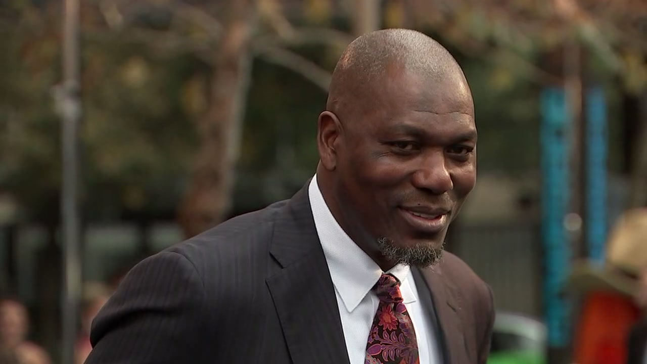 <div class='meta'><div class='origin-logo' data-origin='KTRK'></div><span class='caption-text' data-credit=''>Basketball hall of fame center and Houston Rockets legend, Hakeem Olajuwon, walks the blue carpet at the Houston Sports Awards on Feb. 8, 2018.</span></div>