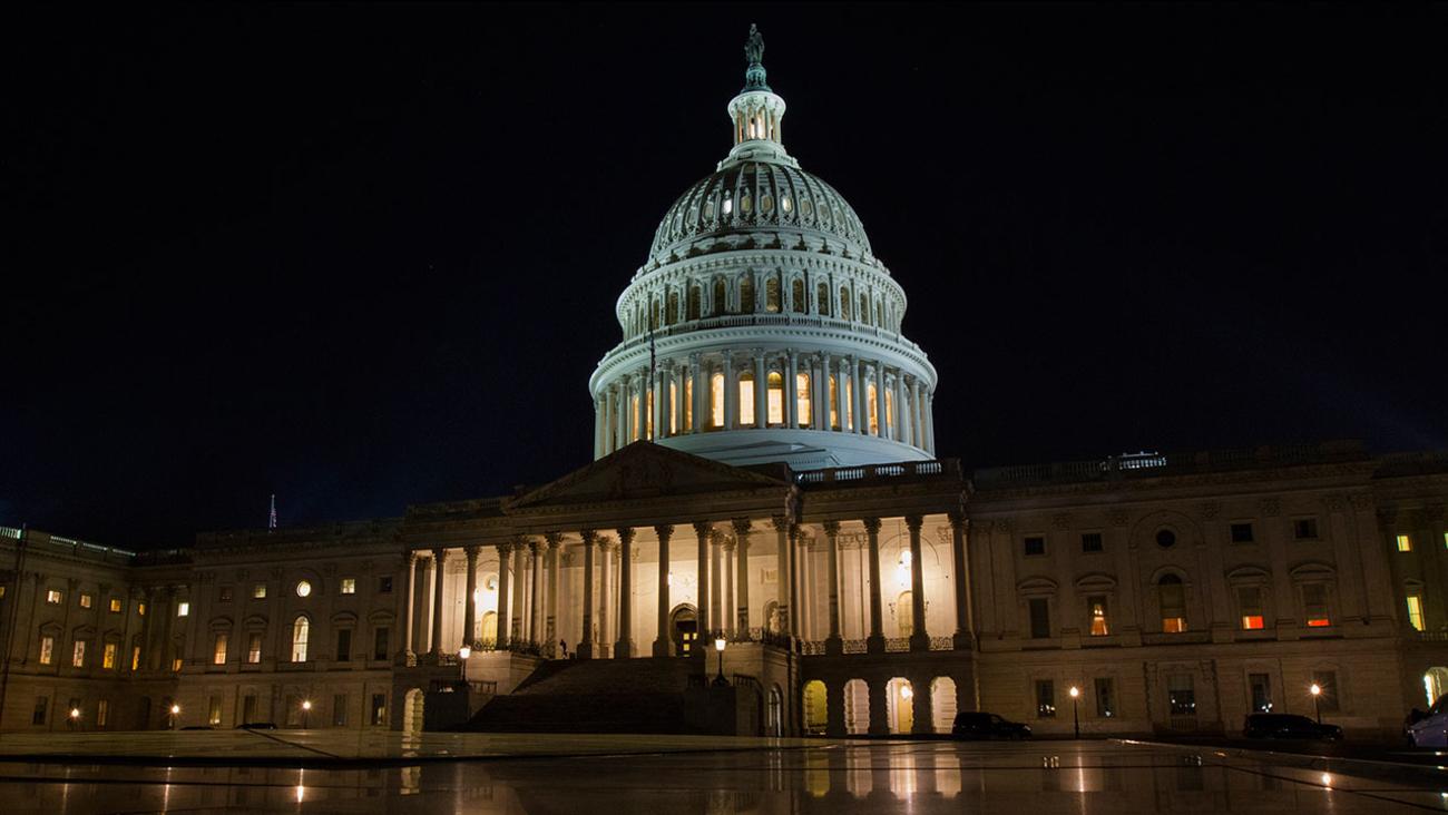 The U.S. Capitol in Washington on Thursday night, Feb. 8, 2018.