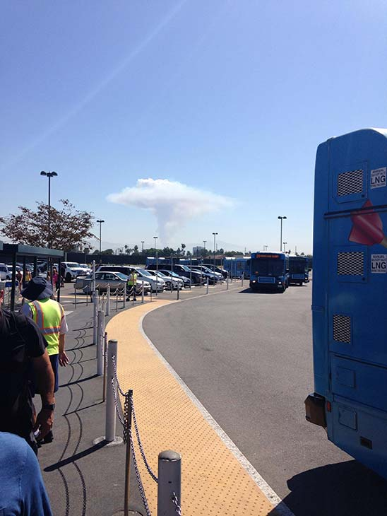 """<div class=""""meta image-caption""""><div class=""""origin-logo origin-image """"><span></span></div><span class=""""caption-text"""">Smoke from a brush fire in Silverado Canyon is seen from Disneyland in this photo from an ABC7 viewer on Friday, Sept. 12, 2014. (ABC7 viewer)</span></div>"""