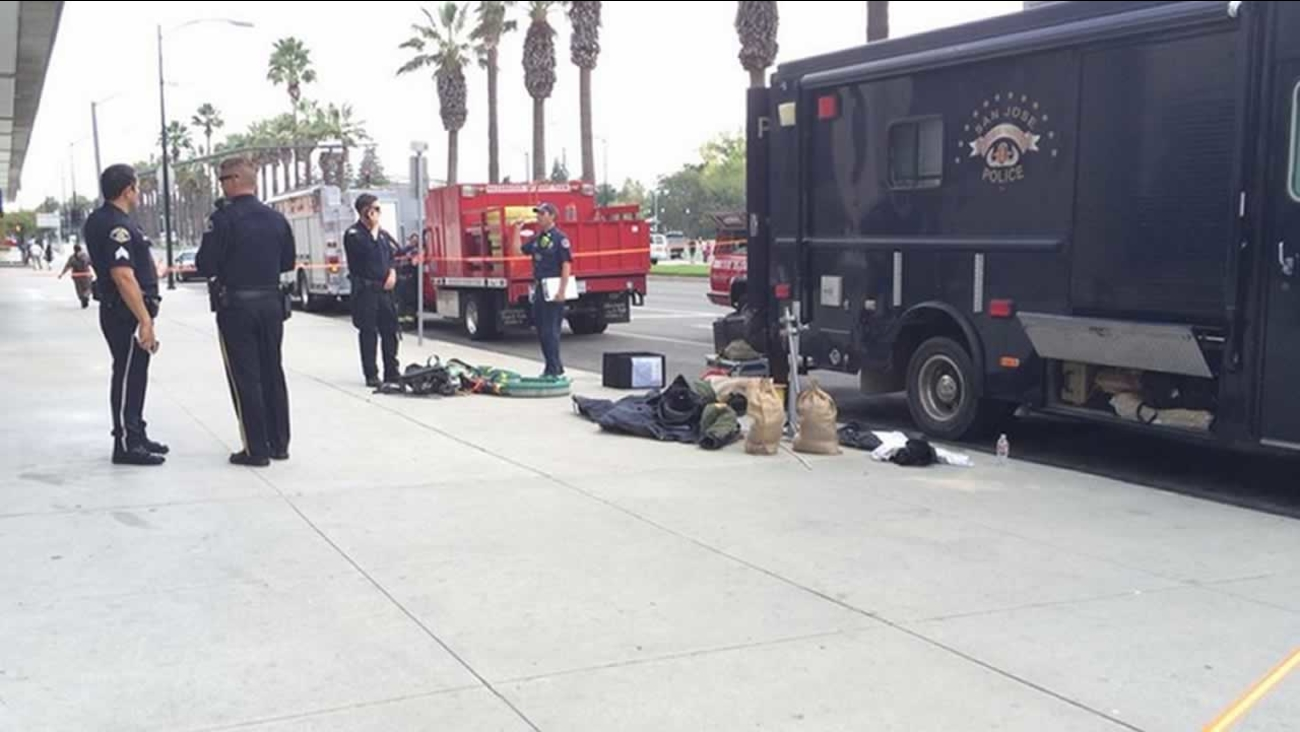 The San Jose Bomb Squad was called in to investigate a suspicious device found at the Hilton hotel on Almaden Boulevard.